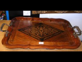 A Dutch kingwood two handled serving tray, the han