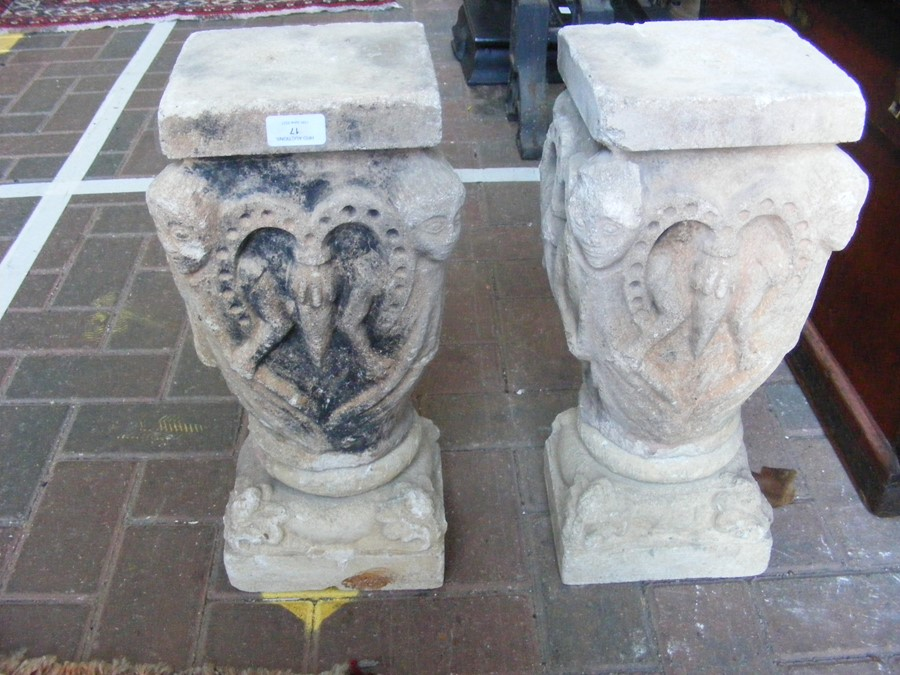 A pair of decoratively carved ancient Spanish ston - Image 3 of 12