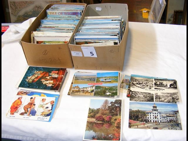 Two boxes containing topographical postcards - UK