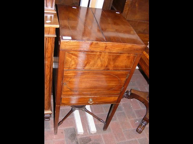 A Georgian square wash stand with hinged top