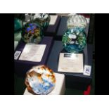 Three boxed Caithness paperweights including 'Roya