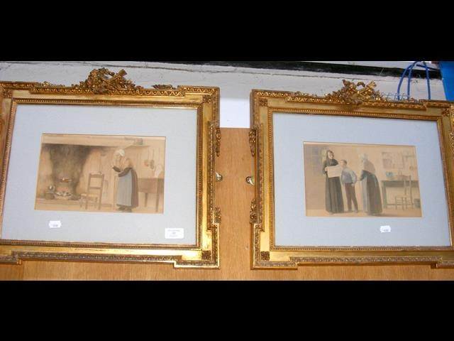 A pair of watercolours in decorative gilt frames -