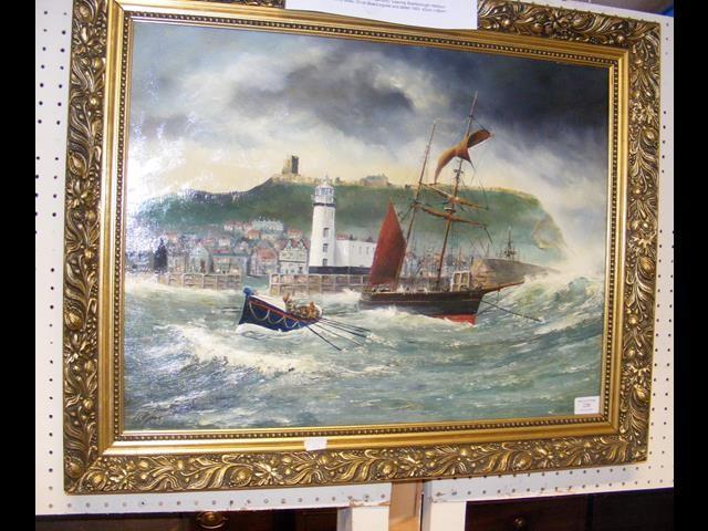 ROBERT SHEADER - oil on board of Scarborough Harbo