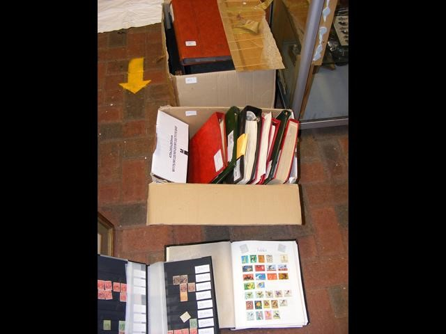 A box of various albums collectable stamps Austral