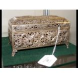 A pierced silver Oriental casket, the base marked