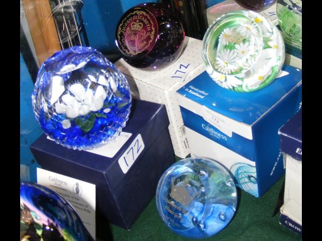 Three boxed Caithness paperweights including one u