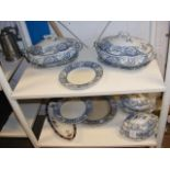Two shelves of 'Baltimore' pattern Wedgwood blue a