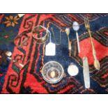 A silver napkin ring, spoon etc