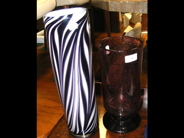 A studio glass vase and one other