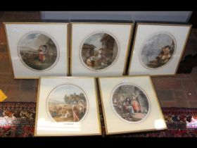 A set of five oval prints - various scenes