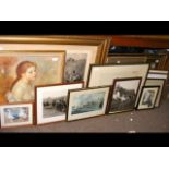 A medley of framed prints and photographs, many de