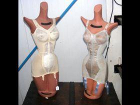 A pair of vintage 'Fantasie' miniature lingerie shop display mannequins -