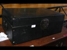A small proportioned oriental wooden chest with ha