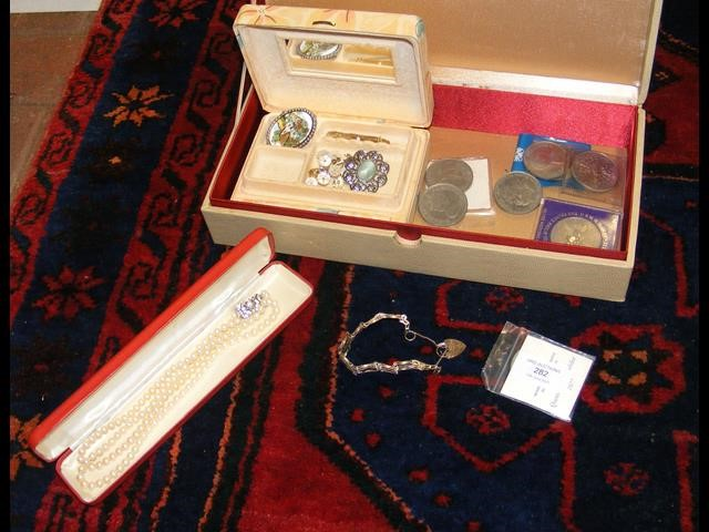 Collectable coins, costume jewellery