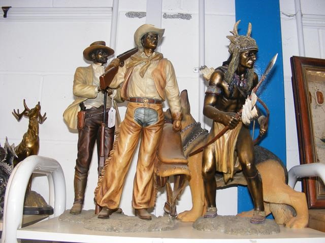 Resin cast over-sized Cowboys and Indian, etc.