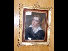 A pastel portrait in decorative gilt frame - 20cm