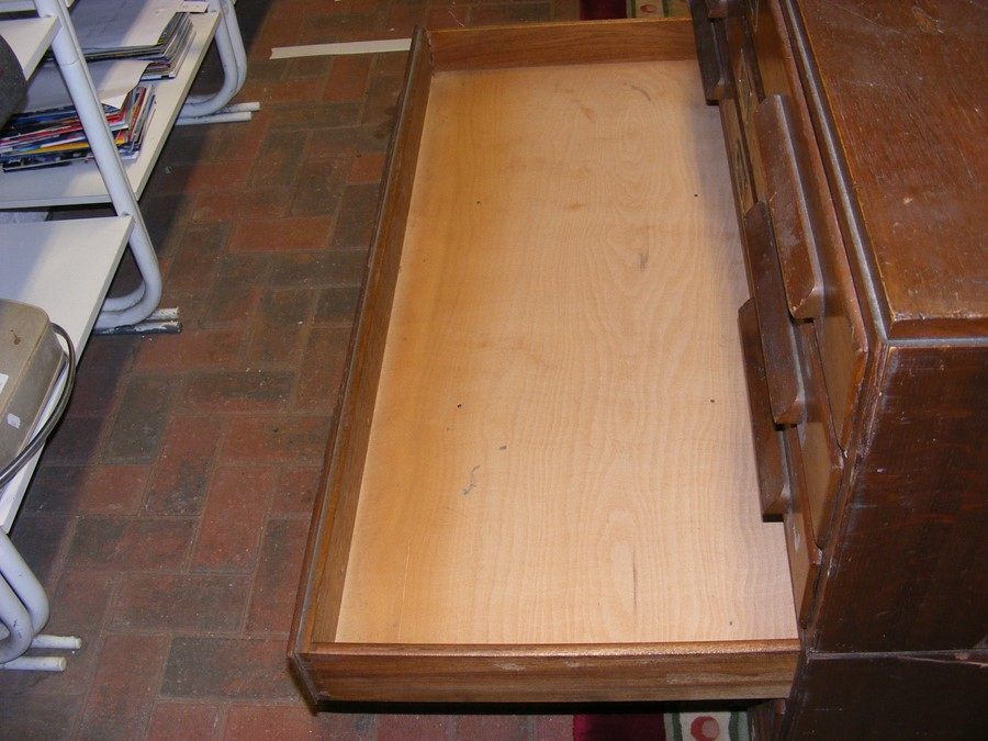 An oak plan chest with six drawers - width 115cms - Image 16 of 19