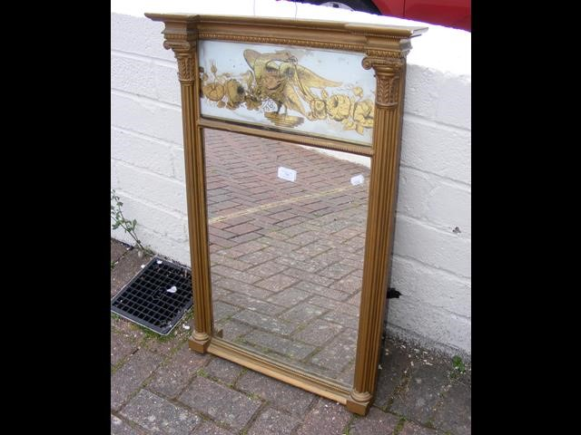 A gilt framed antique hall mirror