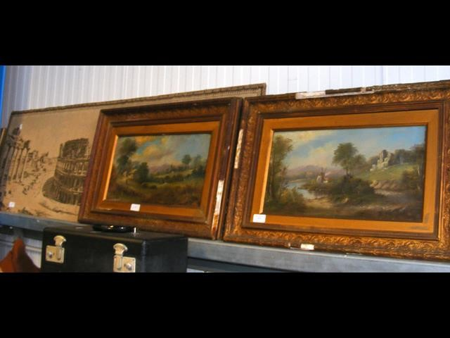 A pair of oils on board - framed, together with a
