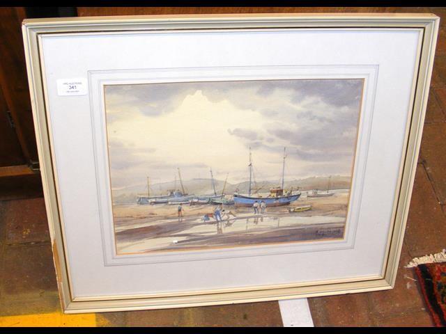 ROLAND DE WINTON ALDRIDGE - watercolour 'Low Tide