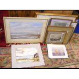 A medley of coastal and marine framed and glazed s