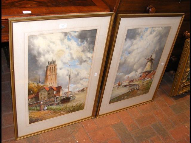 VAN STAATEN - large pair of watercolours of coasta