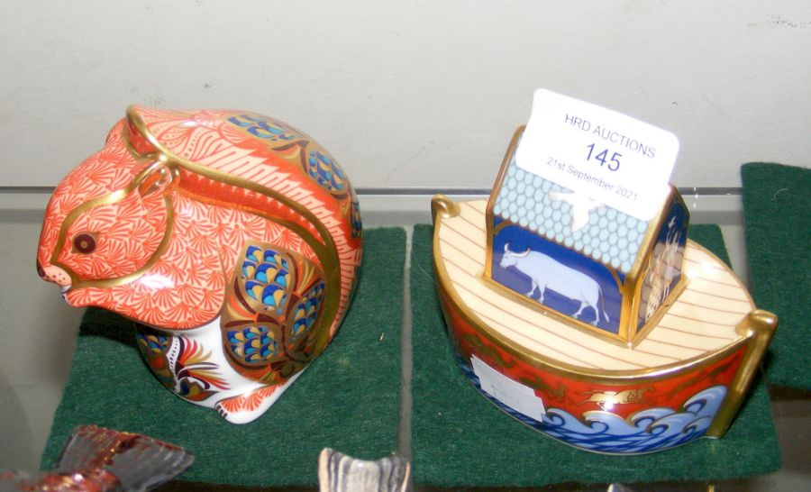 A Royal Crown Derby 'Noah's Ark' paperweight, toge