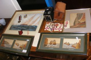 Isle of Wight sand pictures, watercolour, camera a