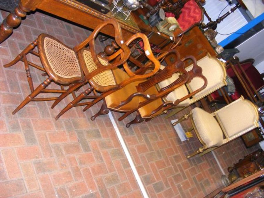 A pair of bedroom chairs, pair of drawing rooms ch