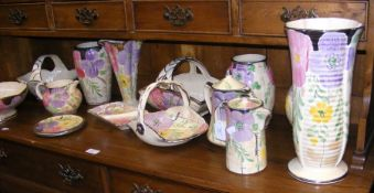 A collection of Arthur Wood china including vases,