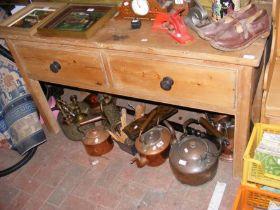 An antique pine dresser base