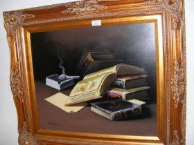 DALAMU-LIBROS - oil on canvas - still life of books - signed