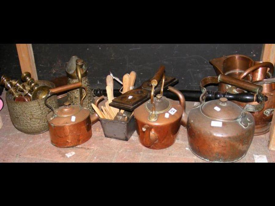 A large selection of antique coper and brass, toge - Image 2 of 2