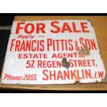 An antique enamel sign 'Francis Pittis & Son, Shan