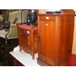 A Victorian pot cupboard and a piano stool