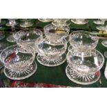 Six cut glass Stuart dishes