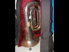 A tuba in case complete with Giddings & Webster mo