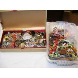A box of costume jewellery together with one other