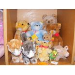 A selection of modern Steiff Teddy Bears, cats, pigs and