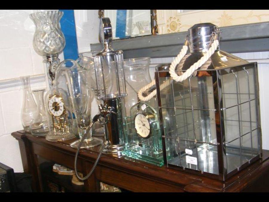 A mantel clock, drink dispenser, glass vases - Image 2 of 2