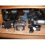A number of vintage film cameras including Hanimex