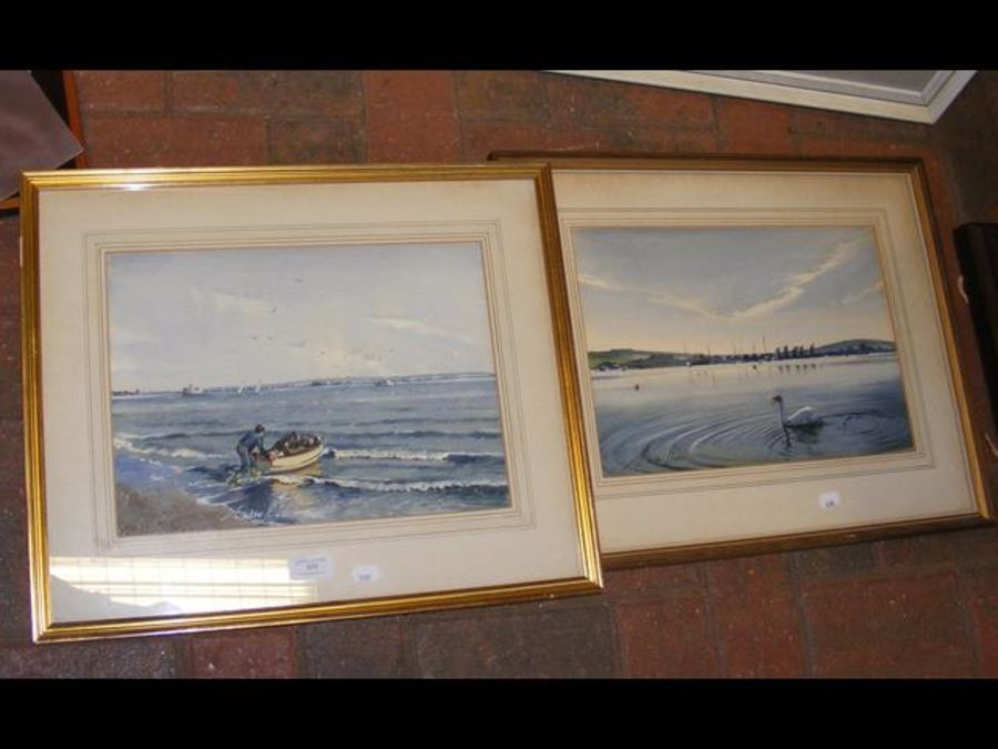 A watercolour of Bembridge Harbour, together with - Image 2 of 2