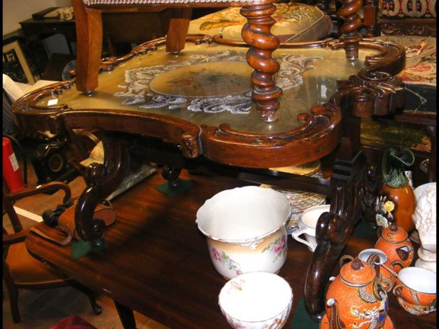 An unusual 19th century occasional table with bead