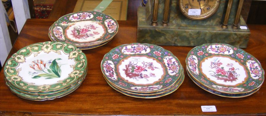 Four Victorian floral painted dessert plates with