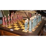 A chess board and chess set