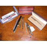 Various collectable fountain pens, silver propelli