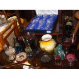 A selection of collectable coloured glass ware tog