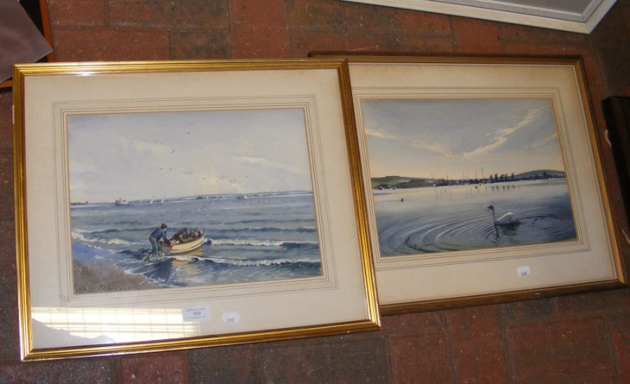 A watercolour of Bembridge Harbour, together with