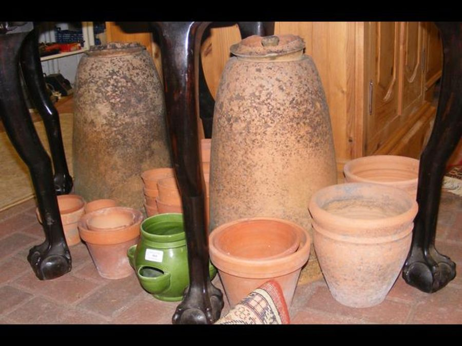 A pair of terracotta rhubarb forcers together with - Image 2 of 2