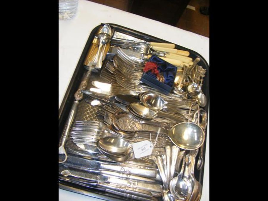 A selection of silver teaspoons together with silv